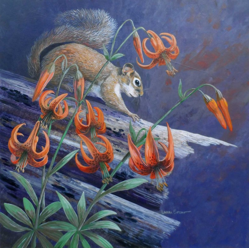 Squirrel-Tiger-Lilies