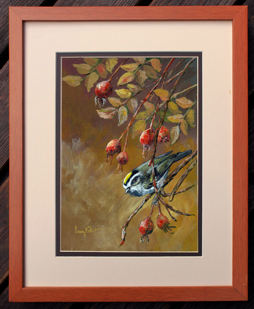 Rose-Hips-and-Golden-crowned-Kinglet-framed