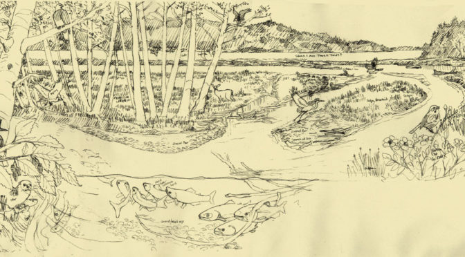 Snow Creek Restoration wayside panel sketch